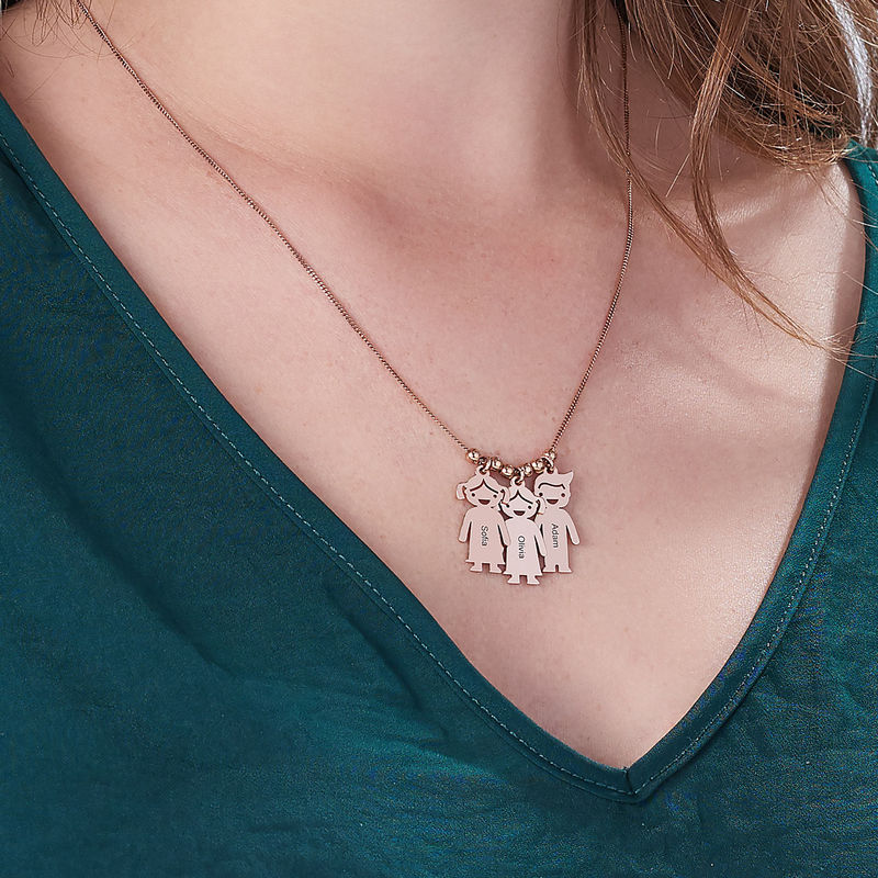 Mother's Necklace with Engraved Children Charms - Rose Gold Plated - 5