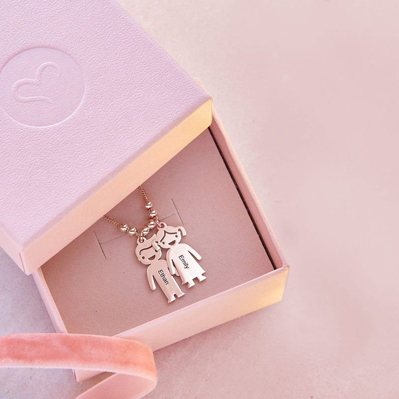 Mother's Necklace with Engraved Children Charms - Rose Gold Plated - 8