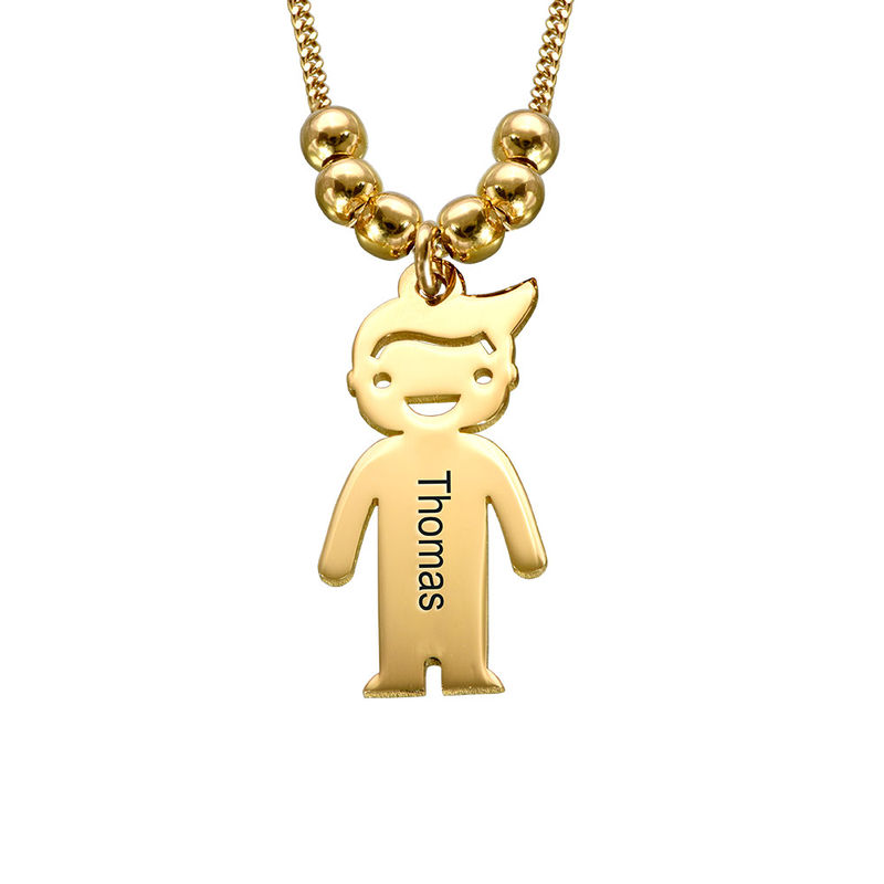 Gold Vermeil Mother's Necklace with Children Charms - 2