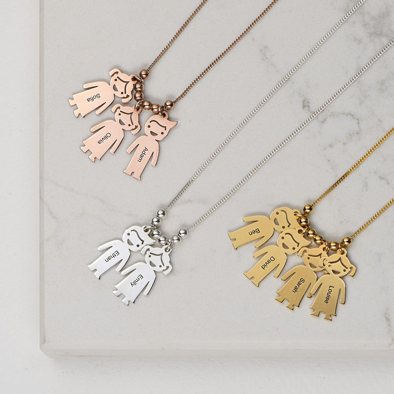 Gold Vermeil Mother's Necklace with Children Charms - 3