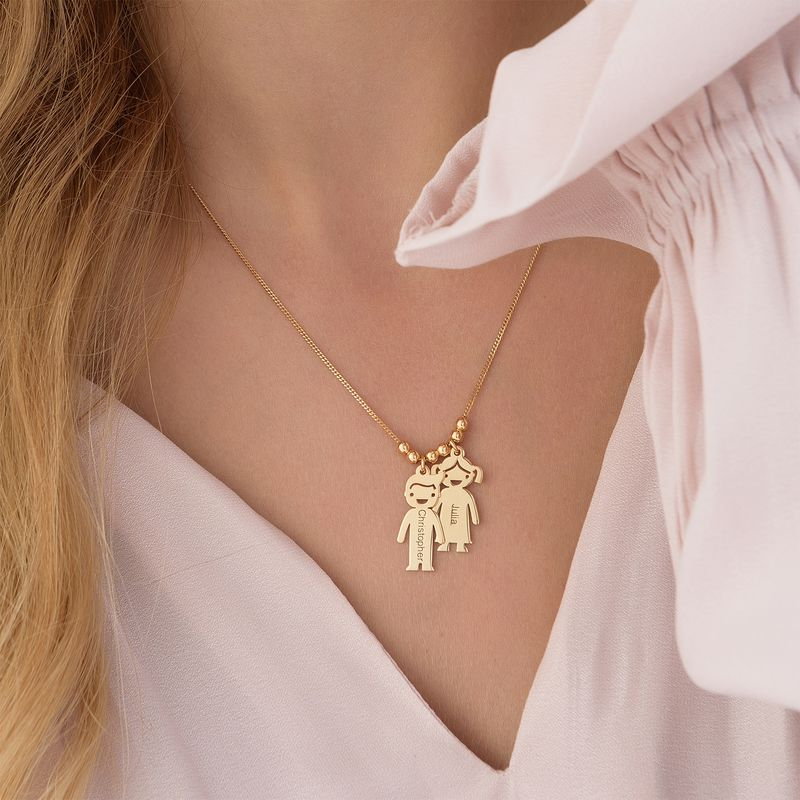 Gold Vermeil Mother's Necklace with Children Charms - 5