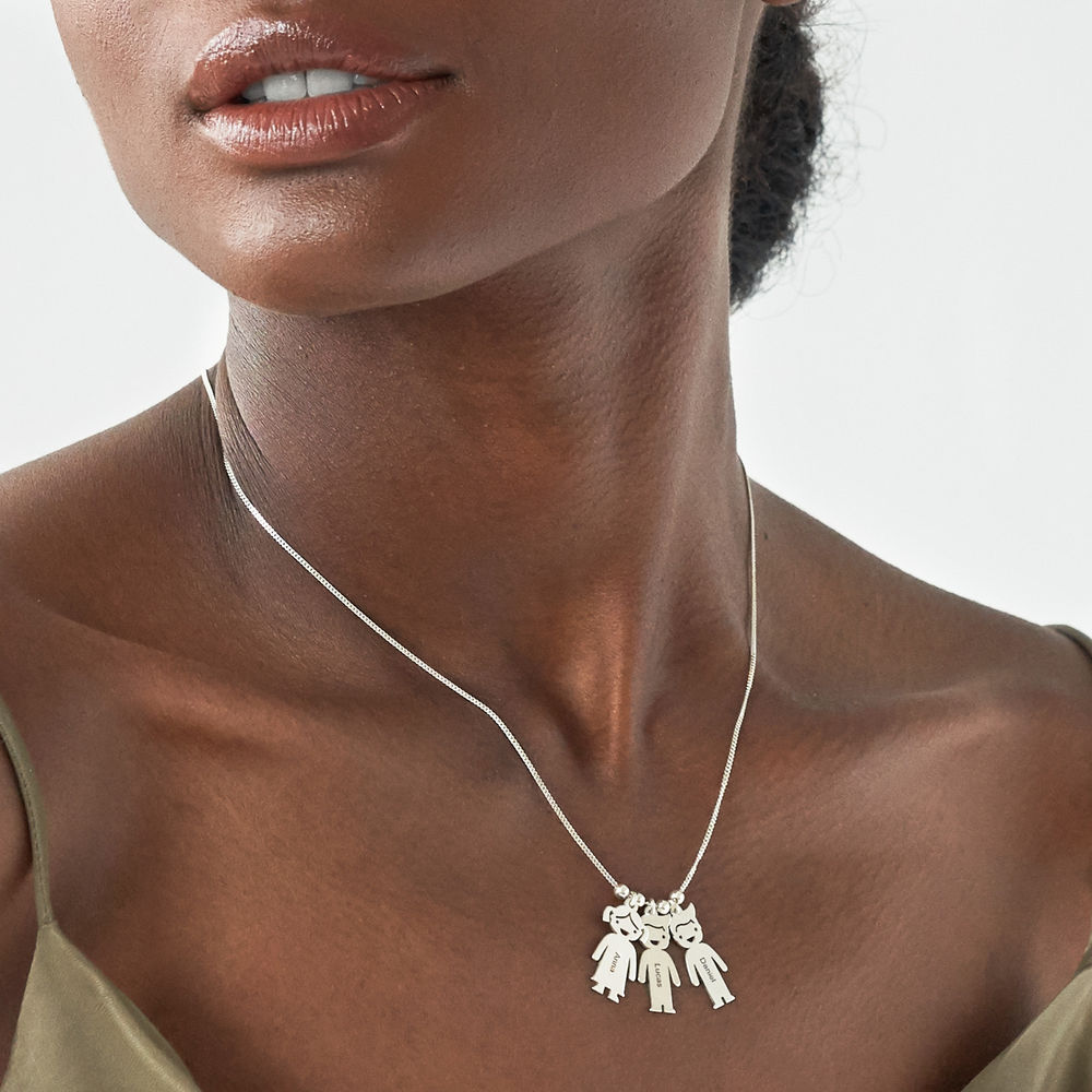 Mother's Necklace with Children Charms in 940 Premium Silver - 3