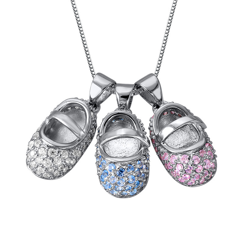 Baby Shoe Charm Necklace with Engraving - 2