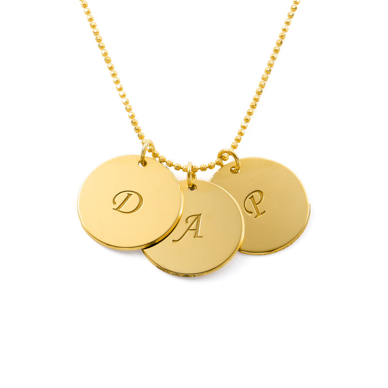 Engraved 18k Gold Vermeil Disc Necklace