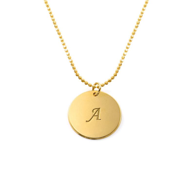 Engraved 18k Gold Vermeil Disc Necklace - 1