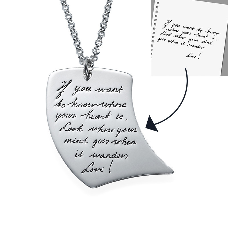 Handwriting Necklace - Note Shaped - 1