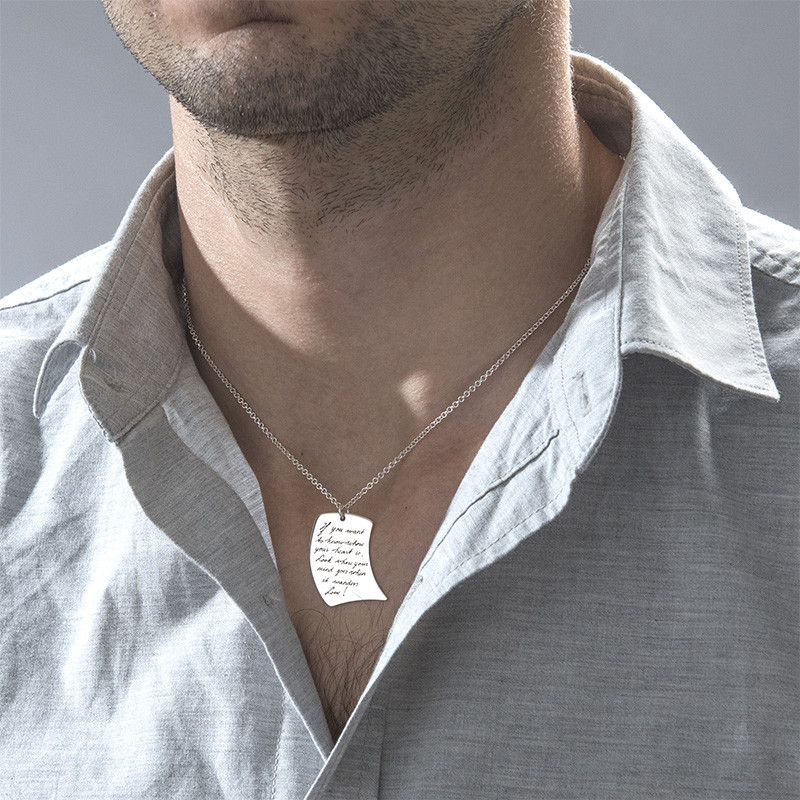 Handwriting Necklace - Note Shaped - 3