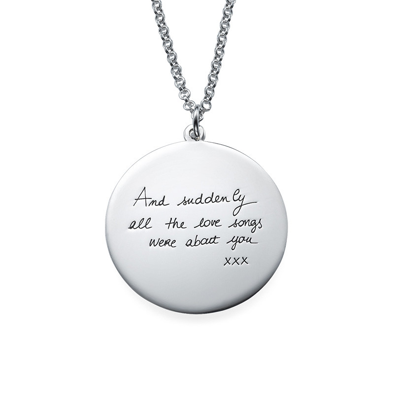 Handwriting Necklace - Disc Shaped