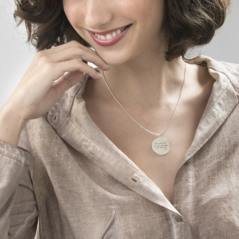 Handwriting Necklace - Disc Shaped - 2