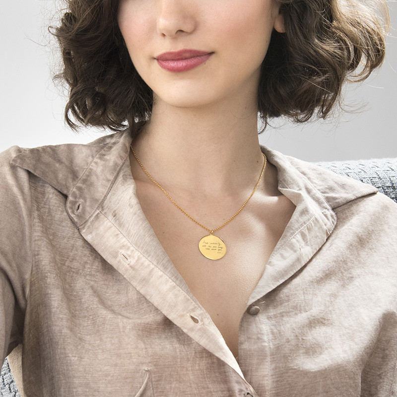 Handwriting Necklace with Gold Plating - Disc Shaped - 2