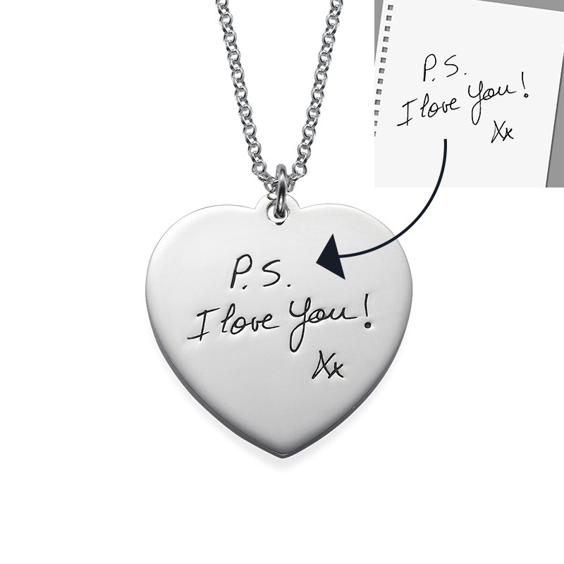 Handwriting Heart Necklace in Silver - 1