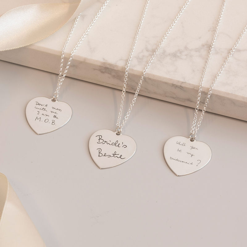 Handwriting Heart Necklace in Silver - 2