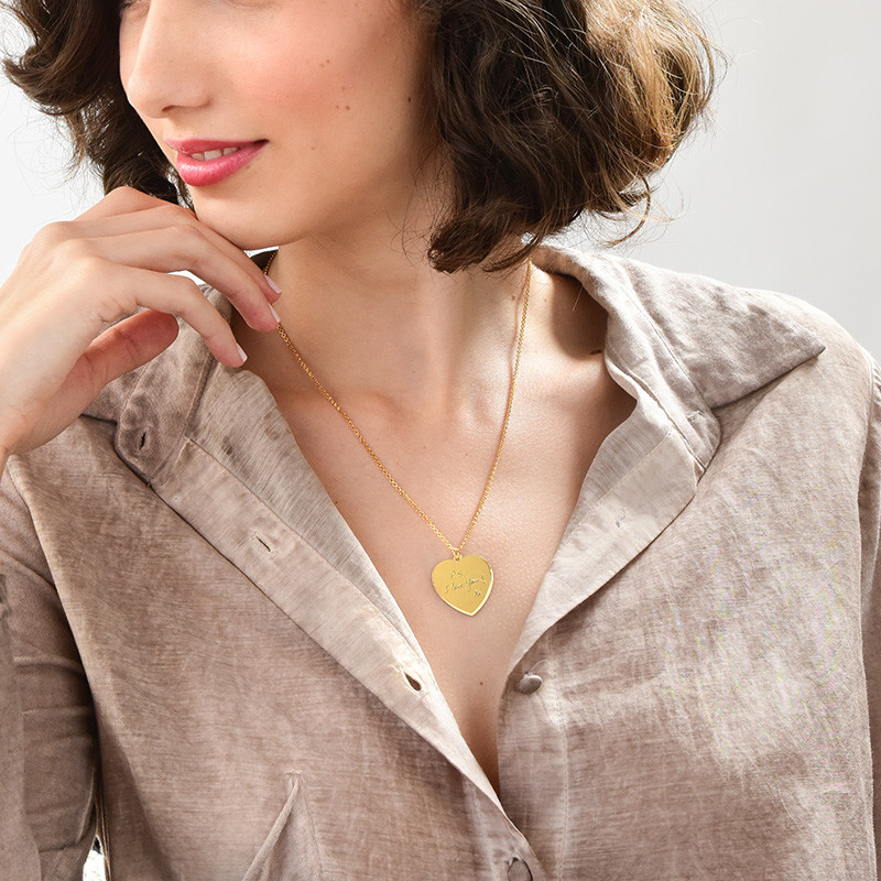 Handwriting Heart Necklace with Gold Plating - 2