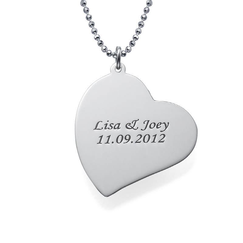 Tilted Heart Photo pendant in Silver - 1