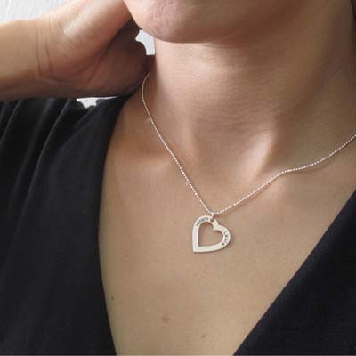 Silver Engraved Heart Necklace - 2