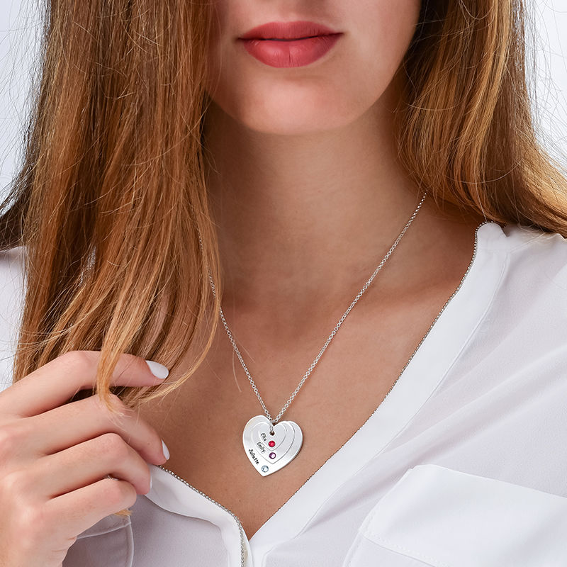 Birthstone Heart Necklace for Moms - 2