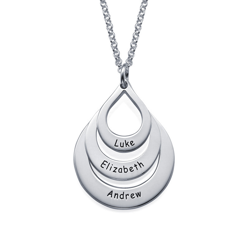 Engraved Sterling Silver Family Necklace Drop Shaped