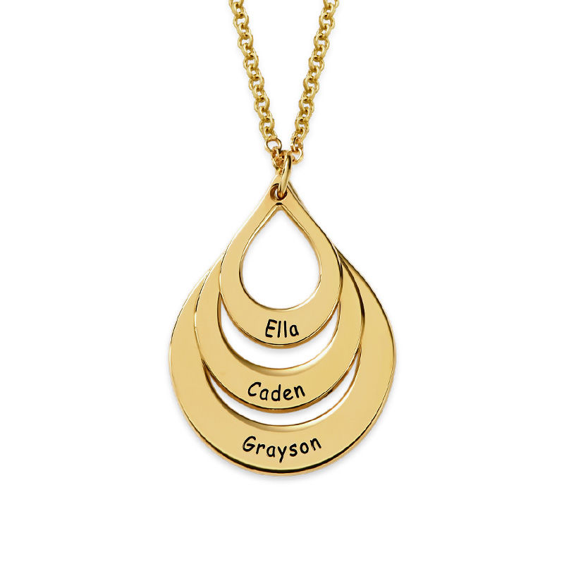 Engraved Family Necklace Drop Shaped in 18k Gold Vermeil