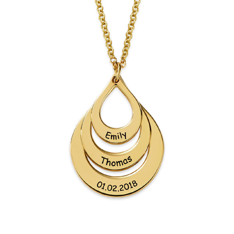 Engraved Family Necklace Drop Shaped in 18k Gold Vermeil - 2