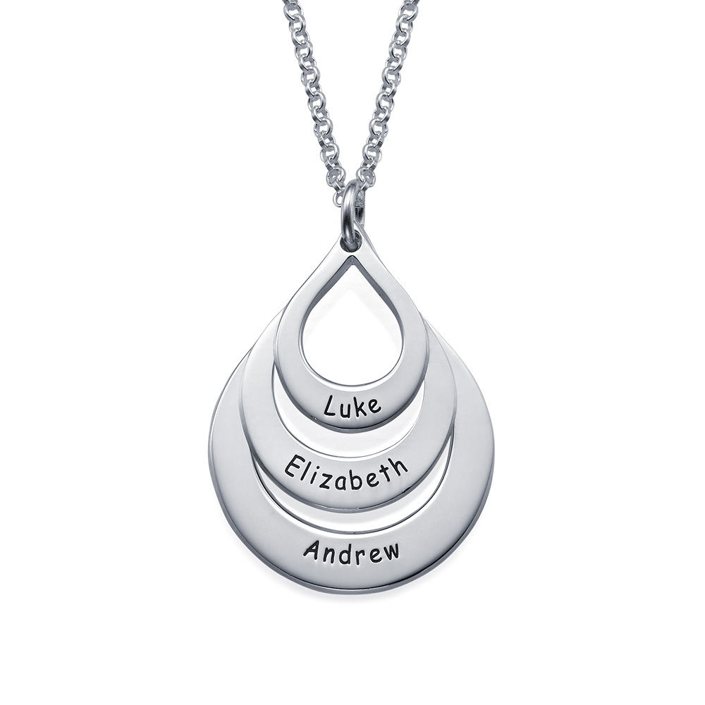 Engraved Family Necklace Drop Shaped in 940 Premium Silver