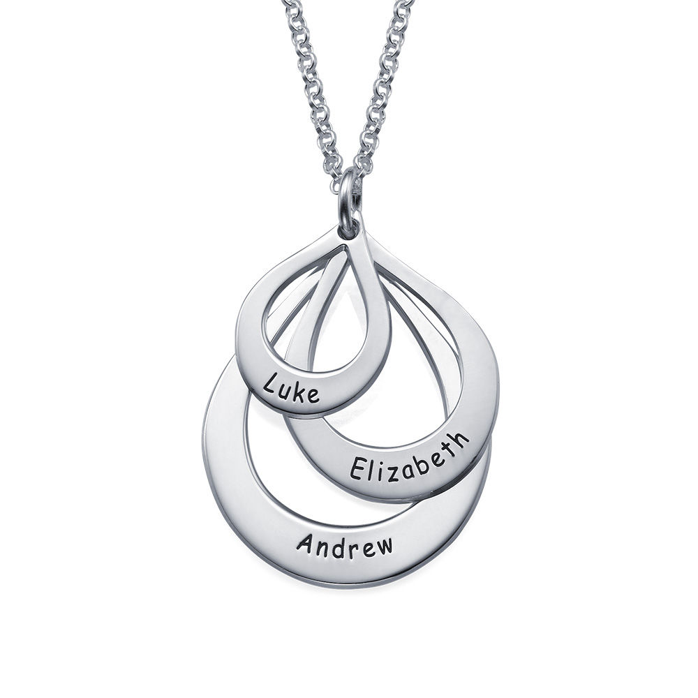 Engraved Family Necklace Drop Shaped in 940 Premium Silver - 1