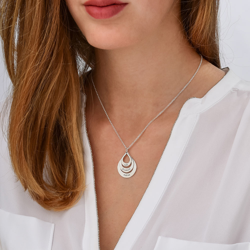 Engraved Family Necklace Drop Shaped in 940 Premium Silver - 2