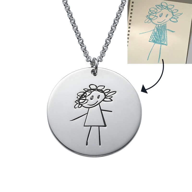 Disc Necklace for Moms with Kids Drawings - 1