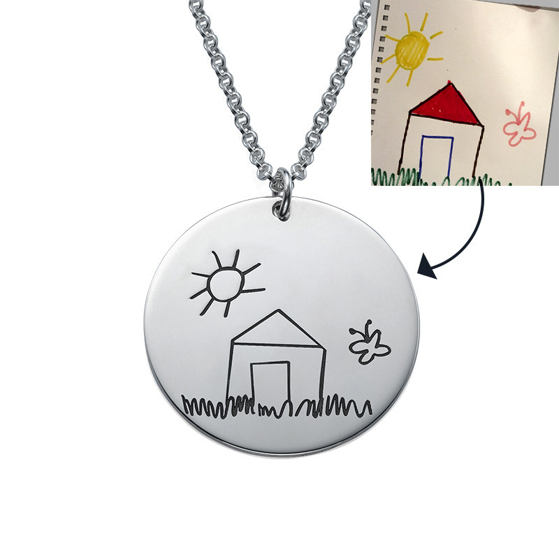 Disc Necklace for Moms with Kids Drawings - 4