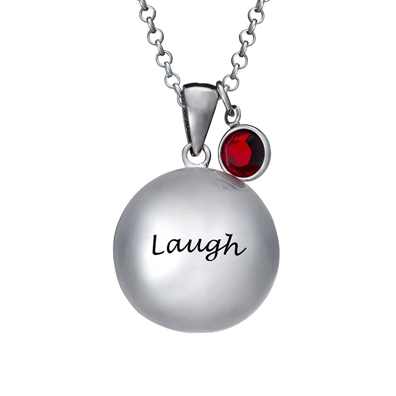 Harmony Ball Necklace with Baby Feet - 1