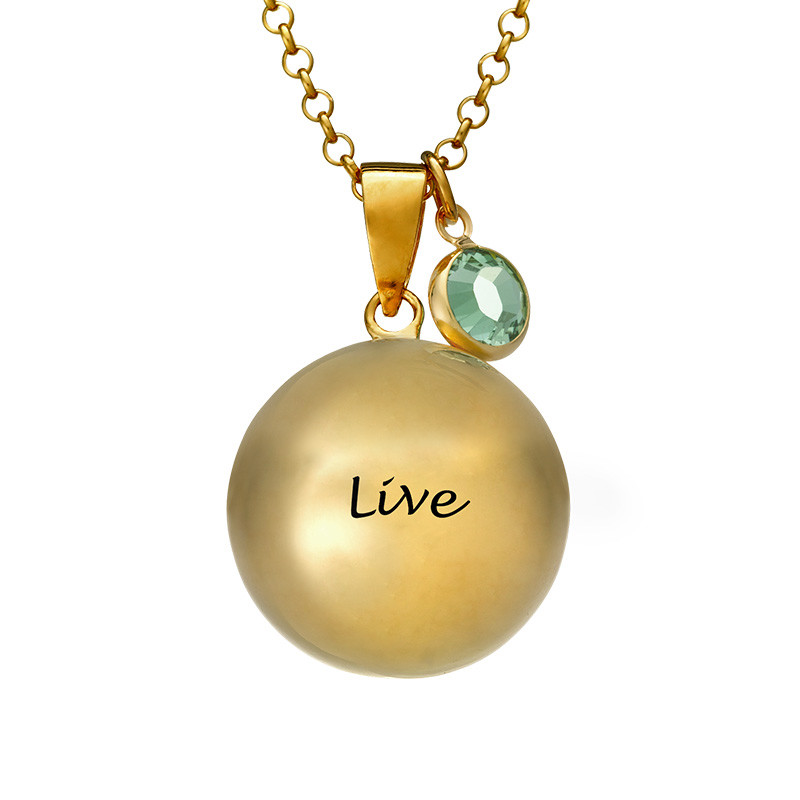 Harmony Ball Necklace with Baby Feet - Gold Plated - 1