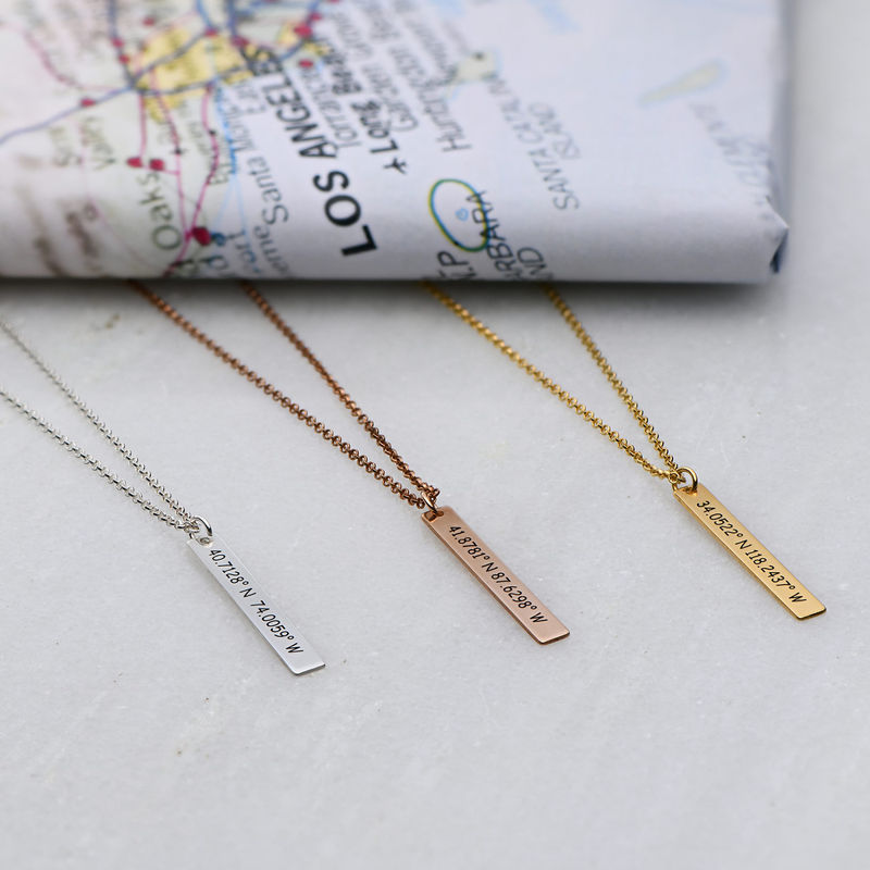 Vertical Bar Necklace with Coordinates in Gold Plating - 1