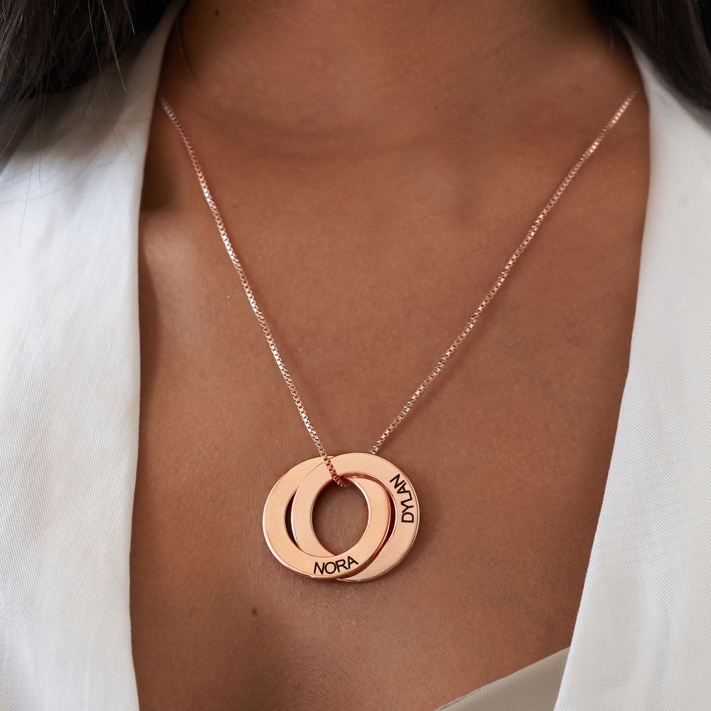 Russian Ring Necklace with 2 Rings - Rose Gold Plated - 3