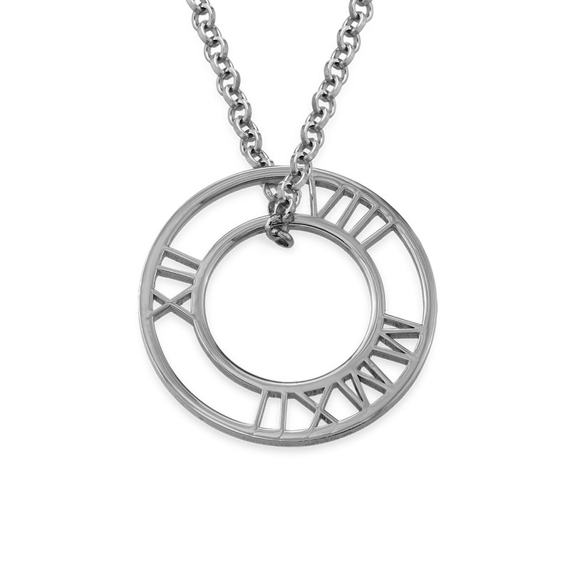 Roman Numeral Circle Necklace in Silver