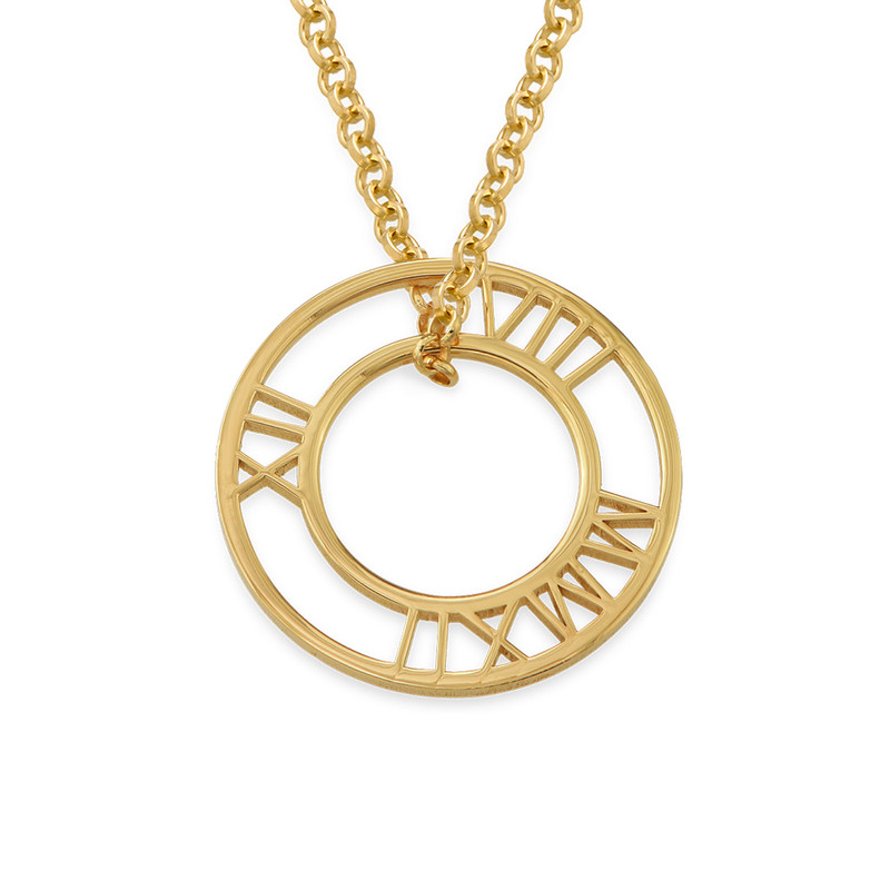 Roman Numeral Circle Necklace in Gold Plating