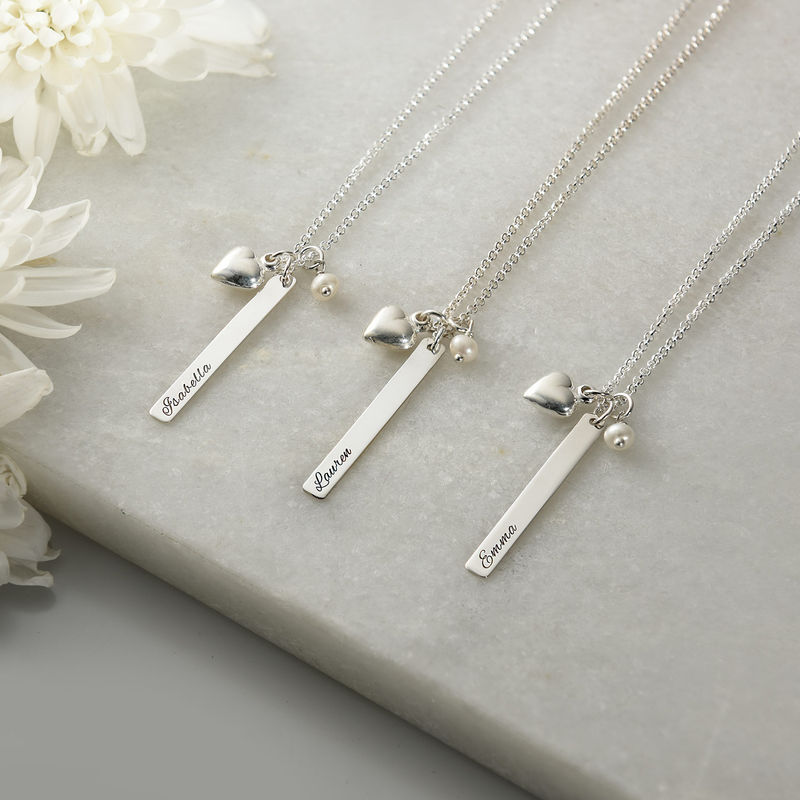 Bar Necklace with Heart Charm and Pearl in Silver - 1