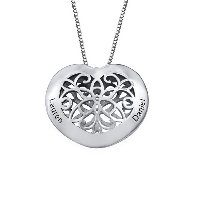 Engraved Heart Necklace in Silver