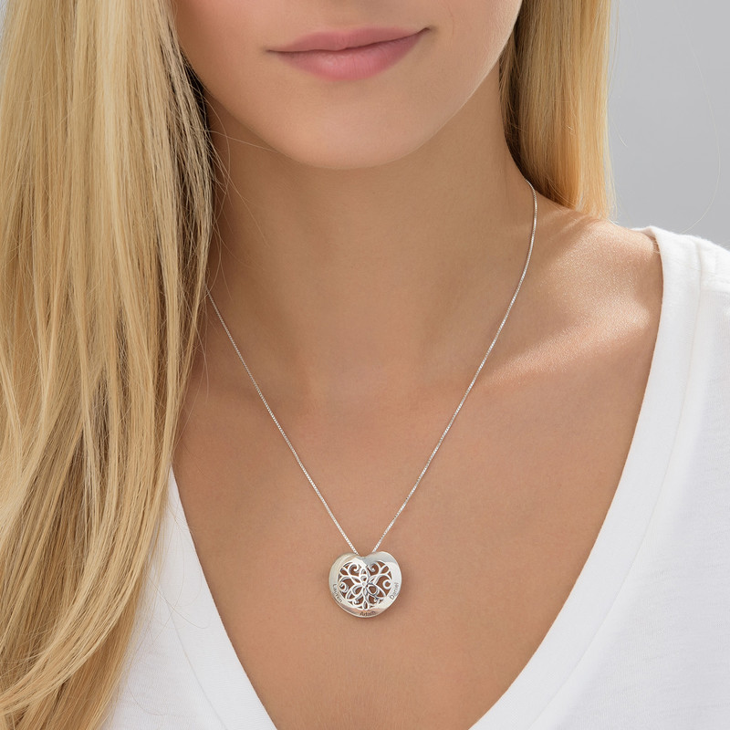 Engraved Heart Necklace in Silver - 2