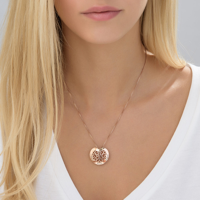 Engraved Heart Necklace in Rose Gold Plating - 2