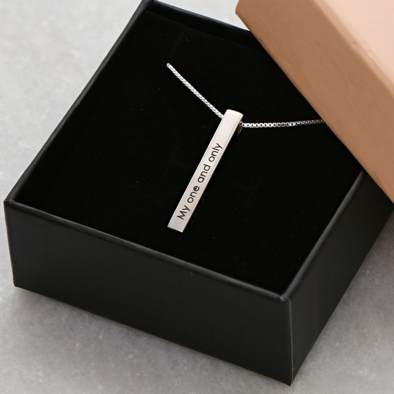 Dimensional Love 3D Bar Necklace in Sterling Silver - 6
