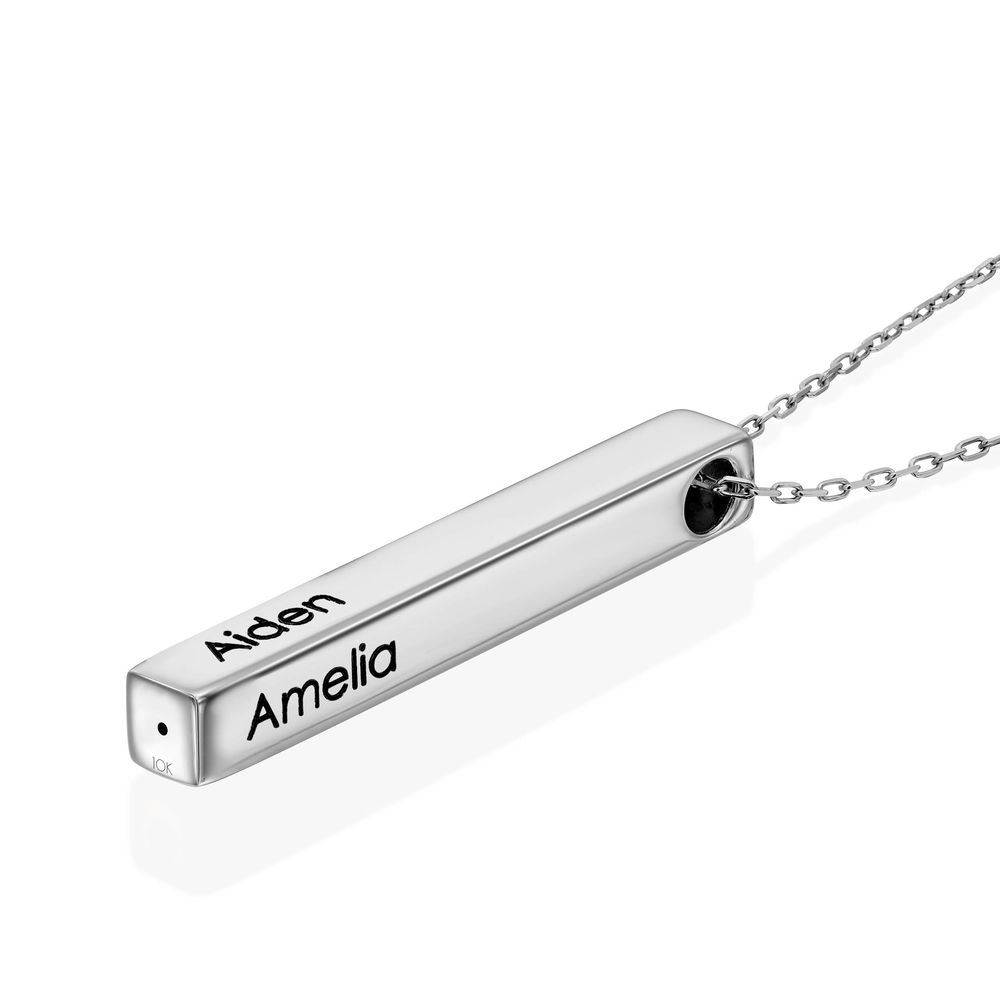 Engraved 3D Bar Necklace in 10K White Gold - 1