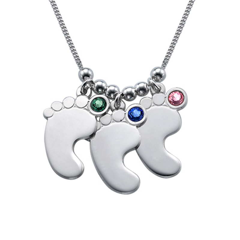 Mom Jewelry - Silver Baby Feet Necklace