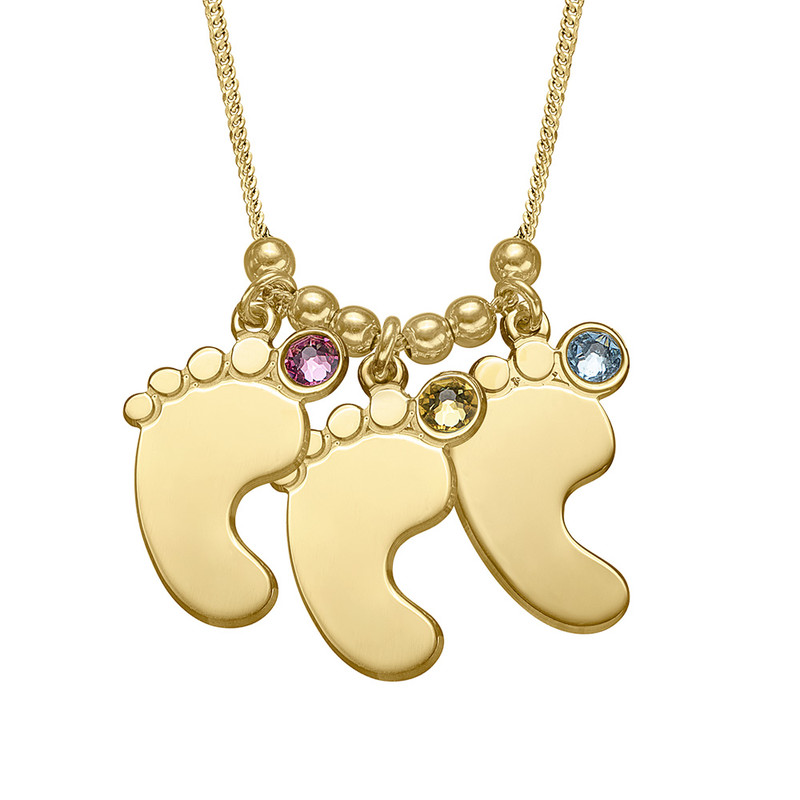 Mom Jewelry - Baby Feet Necklace in Gold Plating