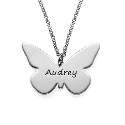 Engraved Silver Butterfly Pendant Necklace