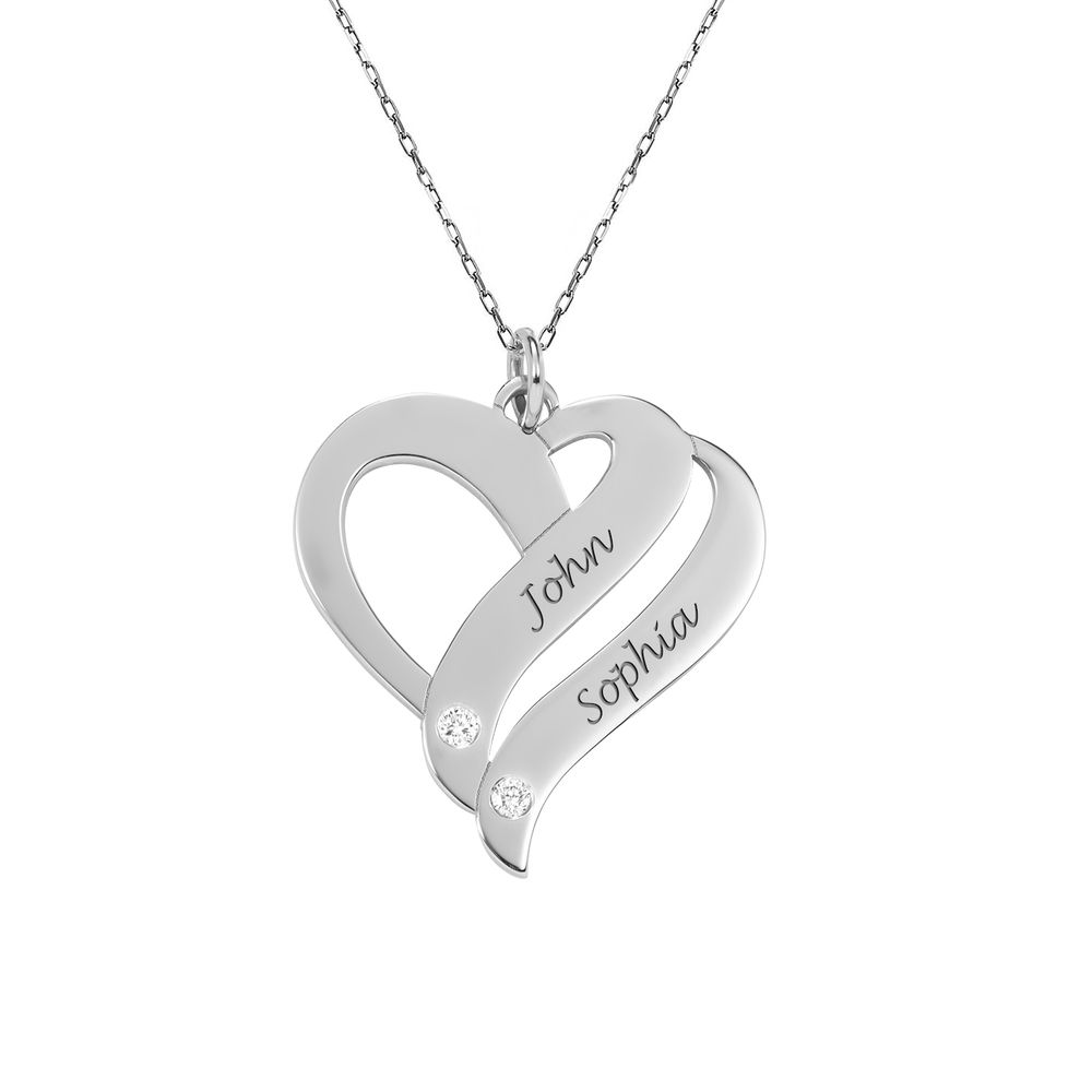 Two Hearts Forever One 10K White Necklace with Diamond