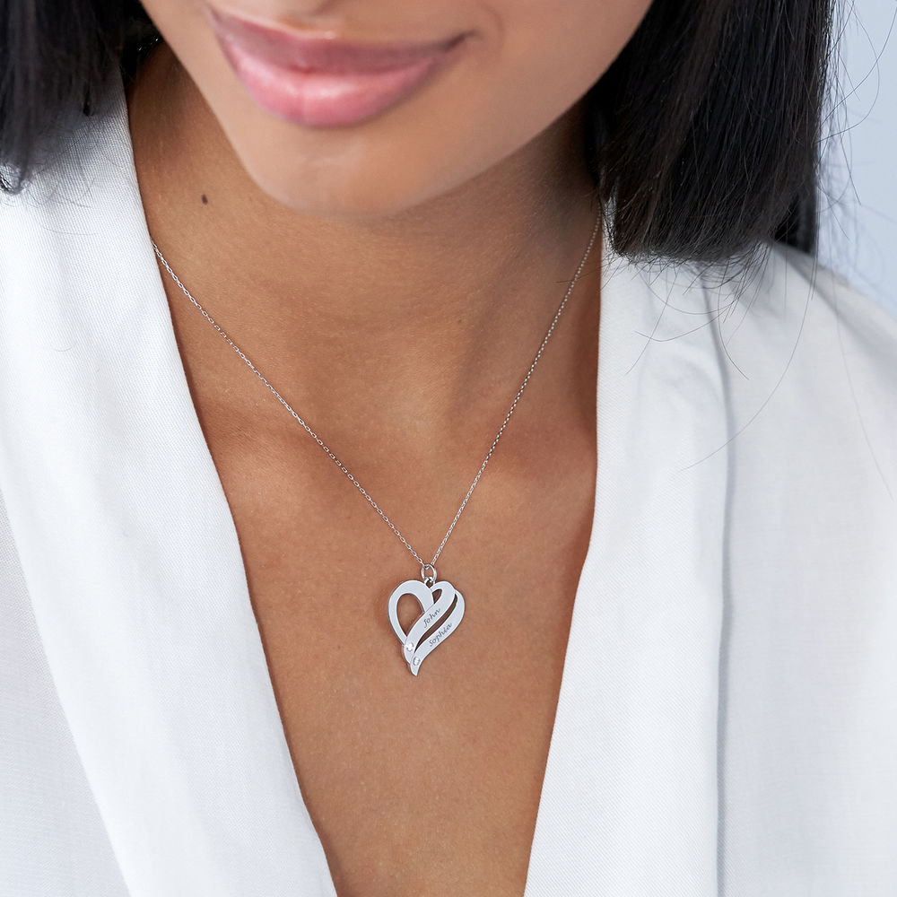Two Hearts Forever One 10K White Necklace with Diamond - 1
