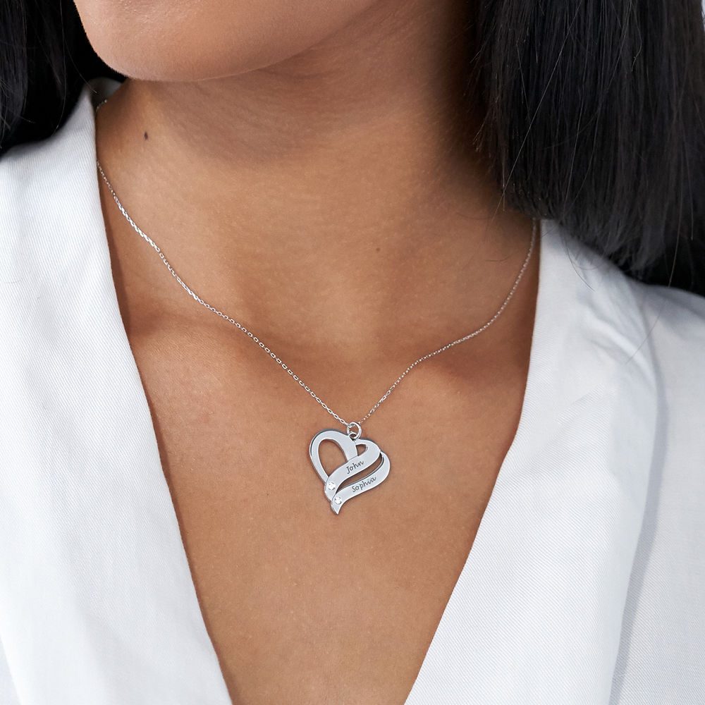Two Hearts Forever One 10K White Necklace with Diamond - 2