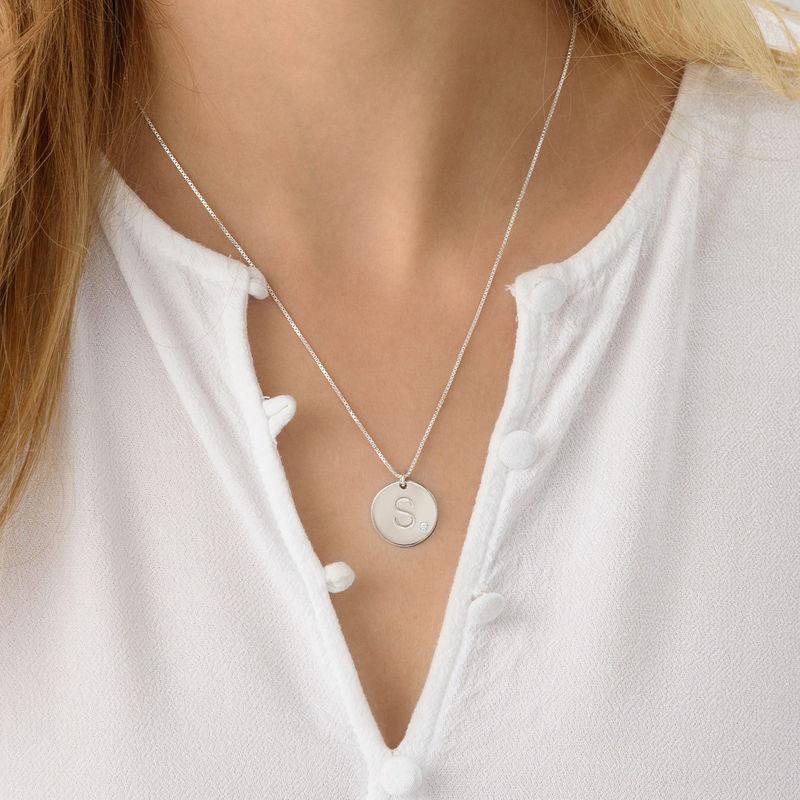Initial Sterling Silver Diamond Necklace - 2