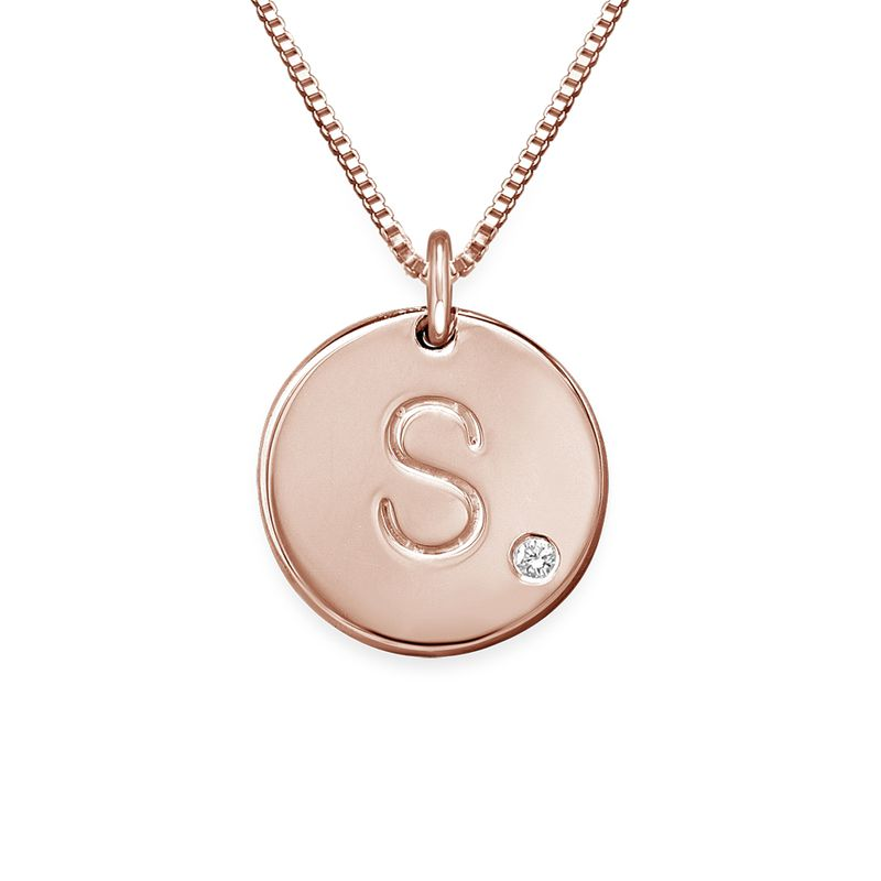 Charm Necklace with Initial Rose Gold Plated with Diamond