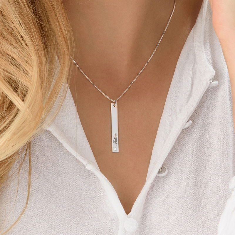 Vertical Bar Sterling Silver Diamond Necklace - 3