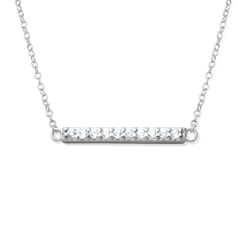 Horizontal Cubic Zirconia Bar Necklace in Sterling Silver